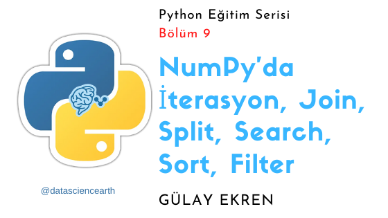 NumPy'da İterasyon, Join, Split, Search, Sort, Filter eğitimi